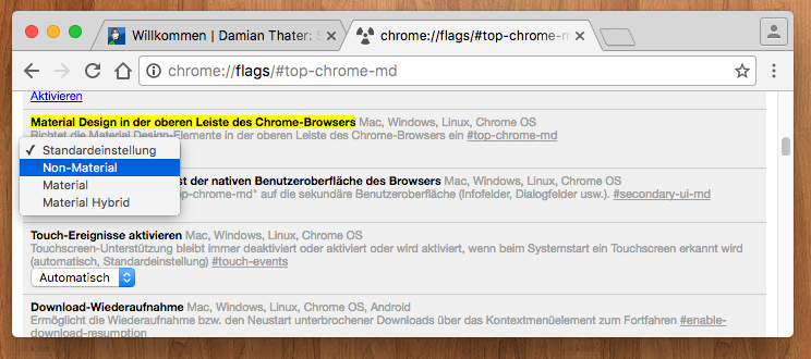 Chrome Flags Config Page