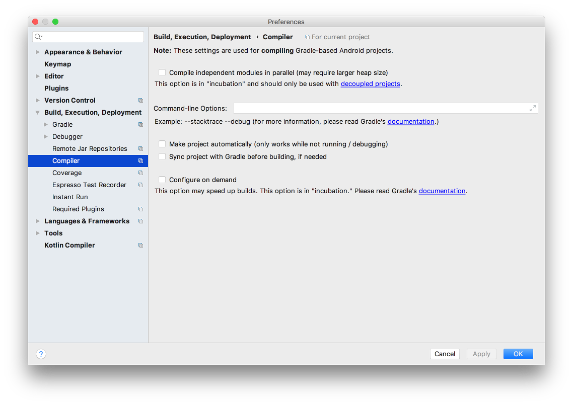 Android Studio Preferences